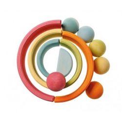 Set van 6 houten pastel gekleurde ballen, Grimms 10238