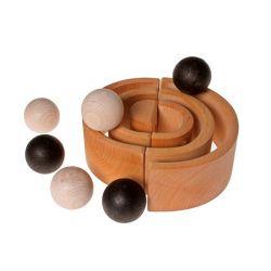 Set van 6 houten zwart witte ballen, Grimms 93120
