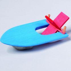 Houten elastiek bootje blauw, Gluckskafer 526466
