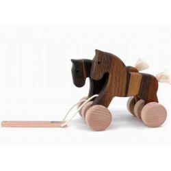 Houten loopfiguur paard zwartbruin, Bajo 21760