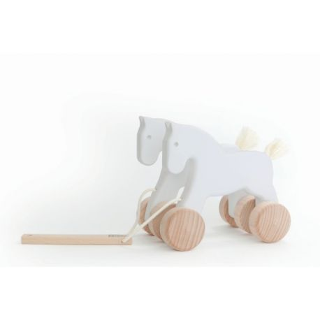 Houten loopfiguur paard wit, Bajo 21760