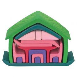 Houten meubelhuis groen-roze, Gluckskafer 523265