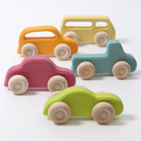 5 Gekleurde houten autootjes slank, Grimms 09210
