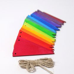Houten regenboog vlaggen slinger, Grimms 70245