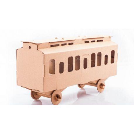 Kartonnen trein wagon bouwpakket