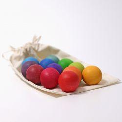 12 kleine houten regenboogballen (zonder katoenen zakje), Grimms 10236