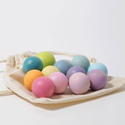 12 kleine houten pastelballen (zonder katoenen zakje), Grimms 10235