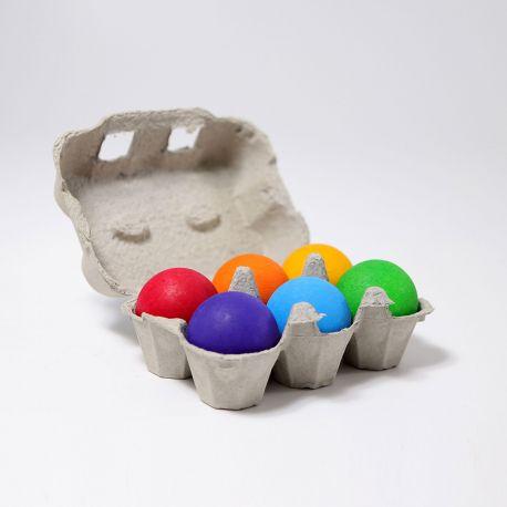 Set van 6 houten regenboog ballen, Grimms 10239