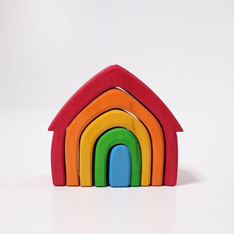 Gekleurd houten regenboog huisje, Grimms 10860