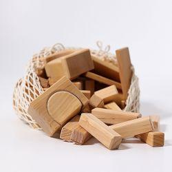 Naturel houten geo blokken 60 stuks, Grimms 10100