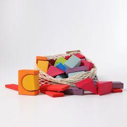 Gekleurde houten geo blokken 60 stuks, Grimms 10120