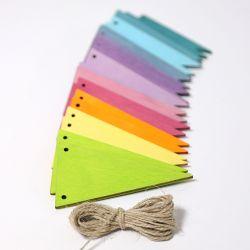 Houten pastel vlaggen slinger, Grimms 70246