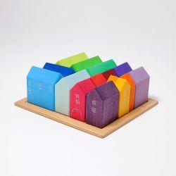 Houten huisjes (15 stuks), Grimms 10176