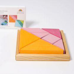 Houten tangram roze oranje, Grimms 43312