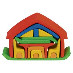 Houten meubelhuis rood-blauw, Gluckskafer 523266