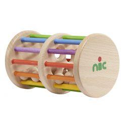 Rolwiel regenboog met houten ballen, NIC toys 1560