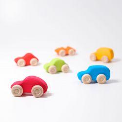 6 Gekleurde houten autootjes, Grimms 09310