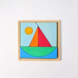 Houten puzzel Zeilboot, Grimms 43693