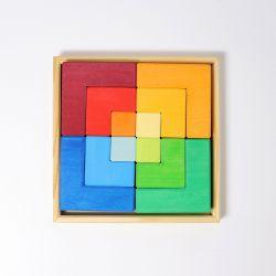 Houten puzzel Vierkant, Grimms 43210