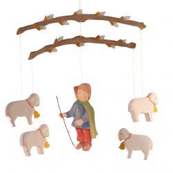 Mobiel herder met schapen