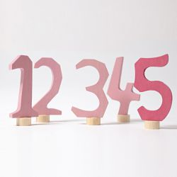 Houten cijfers 1-5 (roze), Grimms 04401