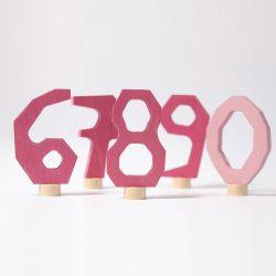 Houten cijfers 6-0 (roze), Grimms 04402