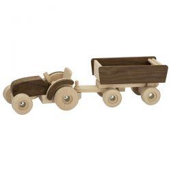 Houten tractor met trailer, Goki nature 55915