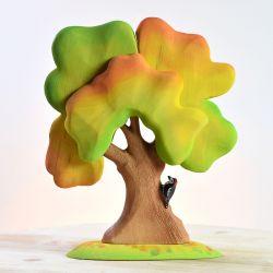 Houten grote herfst eikenboom met specht, Bumbu toys 1928