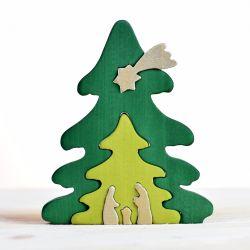 Houten kerstboom puzzel, Bumbu toys 1613