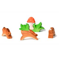 Houten konijnen set met paddenstoel, Bumbu toys 1523