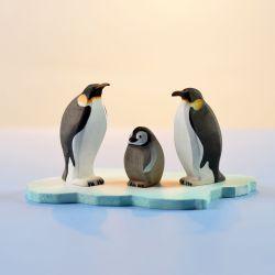 Houten pinguïn set (3 pinguïns) met ijsschots, Bumbu toys 2051