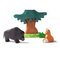 Houten wild zwijn, vos en spar set, Bumbu toys 1788