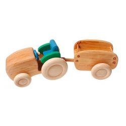 Houten Tractor met bak, Grimms 12020