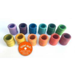Set van 72 gekleurde houten ringen, Grapat 16-147