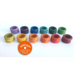 Set van 36 gekleurde houten ringen, Grapat 16-148
