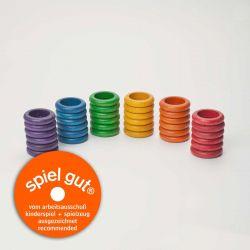 Set van 36 gekleurde houten ringen, Grapat 15-116
