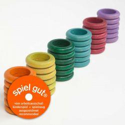 Set van 36 gekleurde houten ringen (extra kleuren), Grapat 16-157