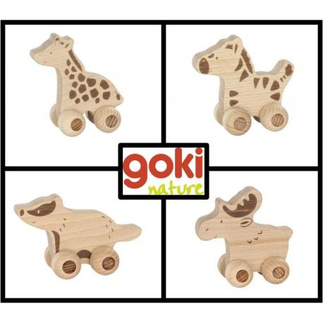 Goki nature dieren op wielen set (4 stuks)