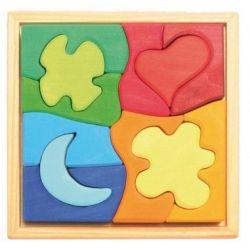 Houten puzzel 4 vormen, Grimms 43722