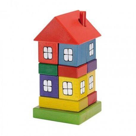 Gekleurd houten blokkenhuis