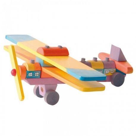 Gekleurd houten vliegtuig