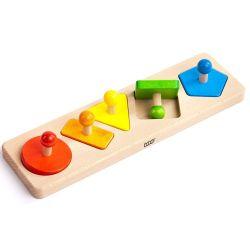 Houten figuren puzzel met 5 vormen, Bajo 44750